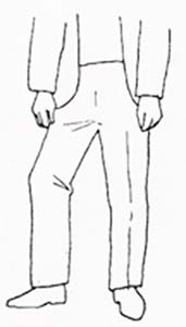 drawing of man with one foot pointing away from you