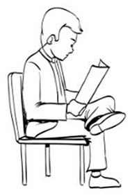 drawing of man sitting in chair with legs crossed