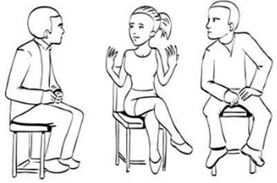 drawing showing girl with legs crossed away from the person they are talking to