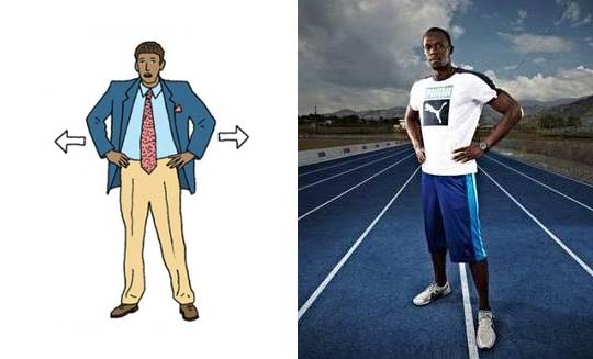 cartoon and real life examples of how one makes themselves look bigger