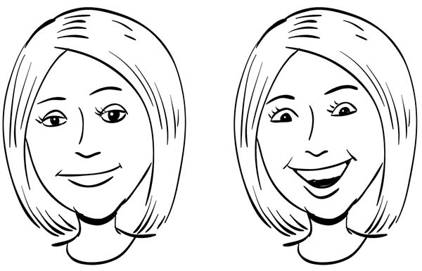 cartoon picture example of submissive fake smile on left and normal smile on the right