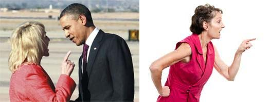 left picture woman pointing aggressively at President Obama right picture another example of agressive pointing