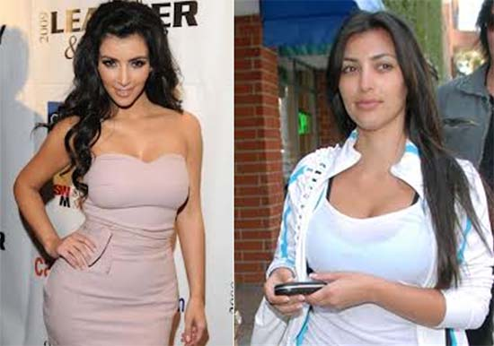 2 photos comparing kim kardashians body language